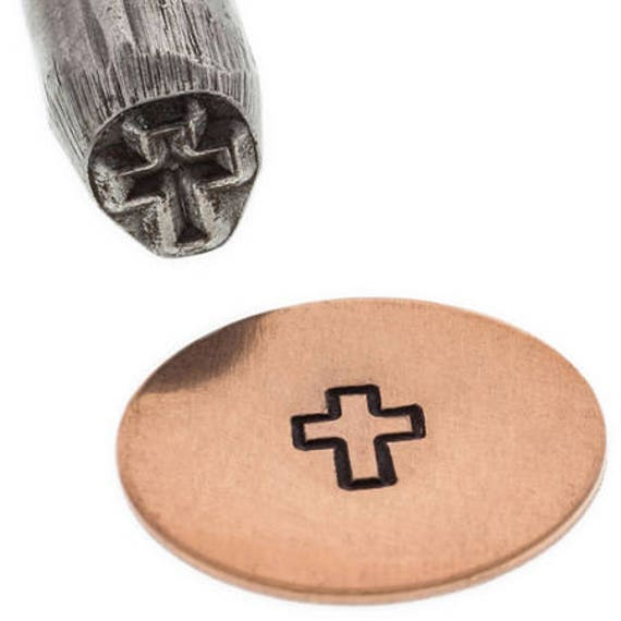 Cross Outline Metal Design Stamp 4mm wide and 4mm high - Eurotool