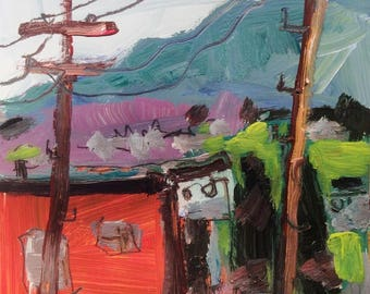Summer Street Blues, Expressive painting,    12 x 12 in, Adams MA, New England  Scenic Locations,  towns in the Berkshires Russ Potak