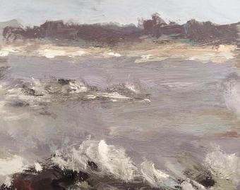 Maine coast Painting, ocean waves, impressionist seascape art, original Maine painting by Russ Potak