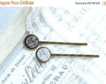 Druzy Hair Pins Hair Pin Set Silver Bobby Pin Sparkly Hair Pins Druzy Bobby Pins Bobby Pin Set