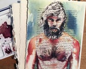 Long Haired Shirtless Male Figure with Sexy Beard on Vintage Book Paper by Artist Brenden Sanborn