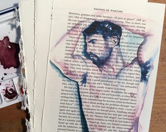 Male Figure with Arms Raised on Vintage Book Paper by Artist Brenden Sanborn