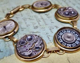 Steampunk Jewelry Bracelet - In the Works - Steampunk watch parts charm bracelet