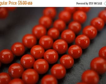 SUMMER SALE Red Round Coral Beads - 4mm - 50 pcs