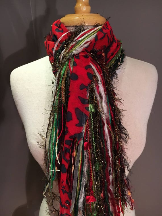 Fringe Scarf, Naughty List, Christmas scarf in red green black white with red cheetah ribbon, holiday scarf