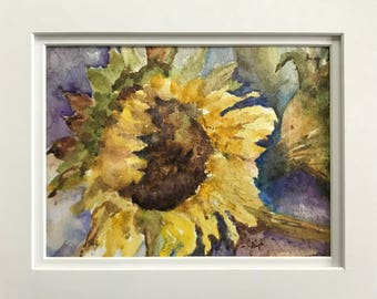 Sunflower, Flower, Floral, Garden, Botanical,  Summer, Daylight, Original Watercolor Painting Matted with Foam Core by Janet Dosenberry