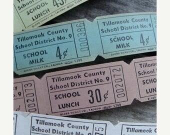 ONSALE 2 Dozen Vintage School Antique Milk and Lunch Tickets Gorgeous Colors