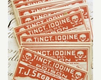 ONSALE Dozen 1930s Antique Poison Medical  Pharmacy Labels