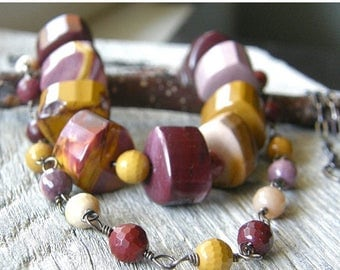 Summer Sale 20% Off Mookite Jasper Two Strand Sterling Silver and Copper Necklace, Layered Maroon, Purple, Mustard Necklace
