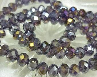 6mm AB Amethyst Crystal Beads 8 Rondelle crystal Beads-AB Amethyst Rondelles