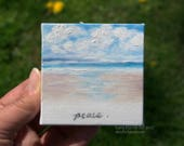 CUSTOM Fruits of the Spirit: Peace... Mini Painting in OIL by Lara ACEO 3x3 Still Life Ocean Clouds Beach