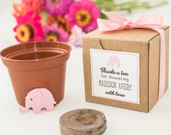 elephant baby shower favors for girls or boys plantable seed paper elephants in pink