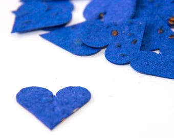 "200 Royal Blue Seed Paper Hearts ""Let Love Grow"" Wedding Favor Table Decoration Bridal Shower Favor Thank You Cards Invitation Party Favor"