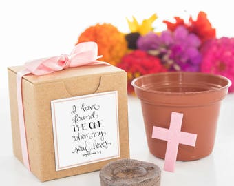 12 Plantable Cross Personalized Wedding or Bridal Shower Favors - Song of Solomon 3:4 Christian Love Marriage Religious Gifts & Party Favors