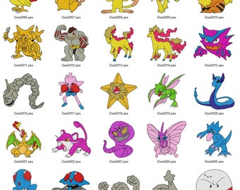 Pokemon Maschinenstickerei Design Set 4 X 4 Reifen Instant Download Pes,  Hus, Jef,