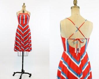 70s Dress Open Back Sundress Small / 1970s Vintage Chevron Summer Dress / FireCracker Dress