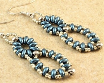 Blue Silver Super Duo Figure 8 Earrings with Silver Plated Ear Wire