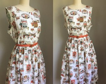 Vintage 1950s Travel and Shopping Novelty Print Simpli-Smart Cotton Sun Dress Size XL