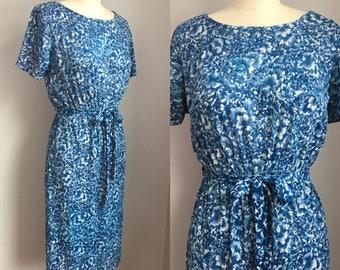 Vintage 1960's Nylon Blue Floral Roses Dress Size XS