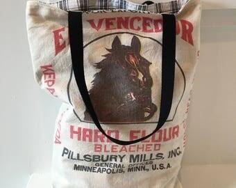 Vintage Flour Sack Bag/ Purse/ Market Bag