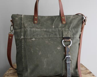 Vintage Military Duffel Bag Tote Olive Green Distressed Veteran Antique One of a Kind German 1960