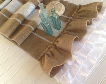 French Grainsack Stripe Burlap Table Runner with Ruffles  Beach Cottage/Farmhouse/Coastal