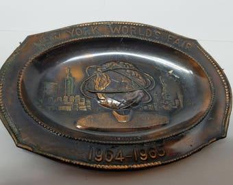 1964-65 NY Worlds Fair Copper Small Souvenir Tray 176003