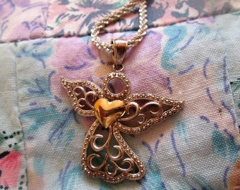 NECKLACE  - ANGEL  - Filigree - 10K -  925 - Sterling Silver  -  Vintage - 18  inch fancy chain necklace386