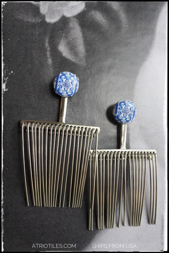 Earrings Comb Fringe Stud Post Tassel Portugal Tile Azulejo Blue AvEIRO Santa Joana Convent 1458 - Gift box included