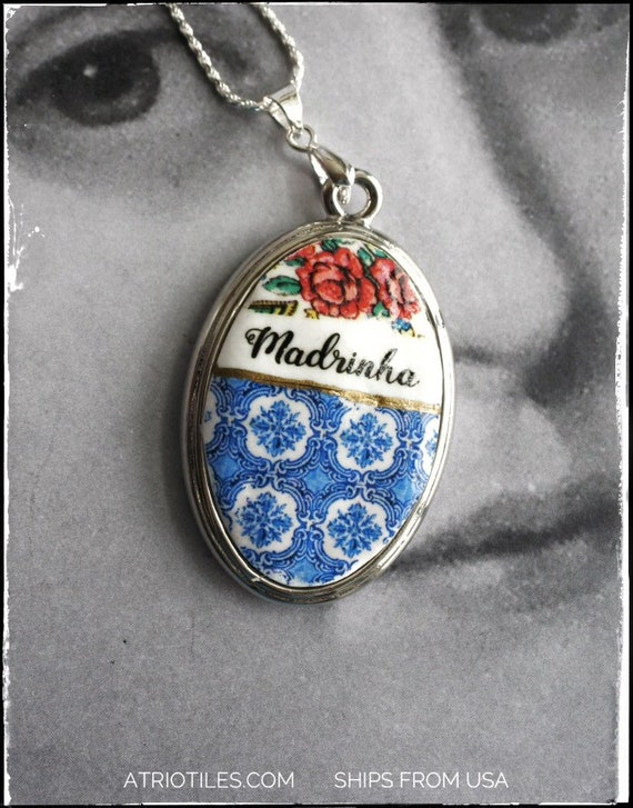 Necklace Madrinha Godmother Portugal Tile Portuguese Easter Blue OVAR - Blue Viana 925 Silver Chain Gift Box Included