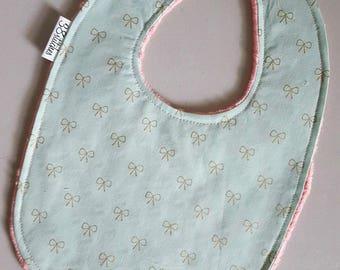 Baby Bib - Metallic Gold Bows on Mint Green with Coral Peach Pink Minky, Baby Girl Bib