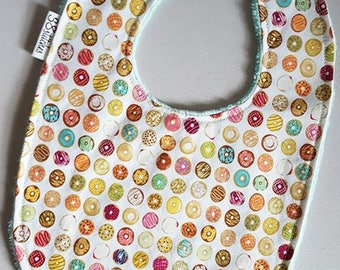 Baby Bib - Donuts on Mint Green Minky
