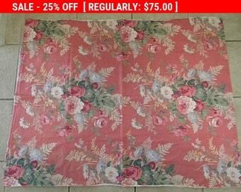 Vintage Barkcloth Roses Fabric