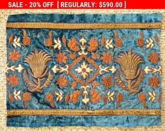 Fabulous Early 19thc Antique French Silk Velvet Metallic Embroidery