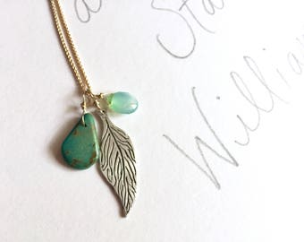 yellow gold and turquoise necklace . sterling silver feather necklace . turquoise and opal talisman necklace . peacesofindigo