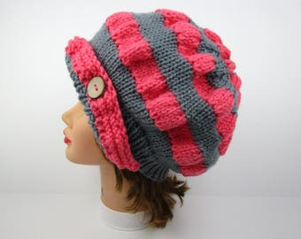 Women's Cloche Hat - Pink and Gray Cloche - Flapper Hat with Button - 1920s Cloche Hat - Ruched Beanie - Knit Accessories