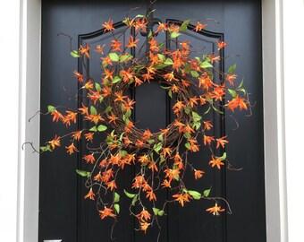 Orange Wreath, Tropical Floral Wreath, Spring Orange Wreath, Unique Wreaths, Etsy Wreaths, Decorative Wreaths, Tropical Spring Wreath