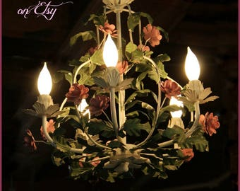 1 of 2 Tole chandeliers with PINK ROSES!  So shabby sweet & French Cottage Chic! 5 arm