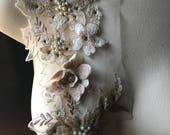 Champagne Blush Border Applique #21, Beaded and Embroidered for GRAD, Lyrical Dance, Ballet, Couture Gowns, Costume Design