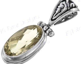 """1"""" 2ct Lemon Quartz 925 Sterling Silver Pendant"""