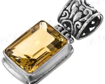 "1 5/16"" 18mm Emerald Cut Citrine Gemstone 925 Sterling Silver Pendant"