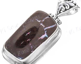 "1"" Natural Australian Boulder Opal 925 Sterling Silver Pendant"