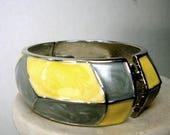 SALE, Enamel Bracelet, Gray Yellow & Silver Art Deco Hinged Bangle , Minimalist Design, Color Block