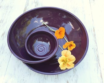 Made to Order Handmade Pottery Swirling Chip n Dip in Aubergine