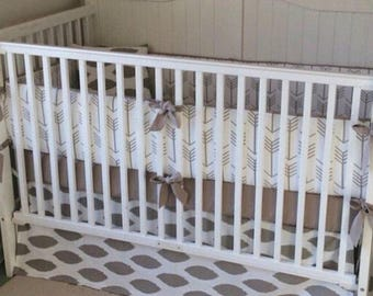 Taupe Arrows Gender Neutral Baby Bedding Crib Set