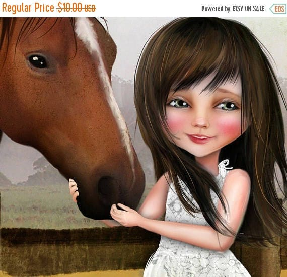 """50% Off SALE 5x7 Art Print """"Kate"""" Dark Brown Haired Little Girl and Her Horse - Little Cowgirl Fine Art Print - Small Giclee Print"""