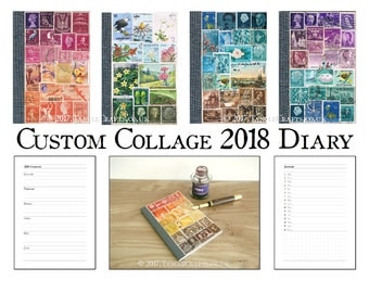 Custom Colour 2018 Diary, A6 Month Planner Notebook, Stamp Collage Art