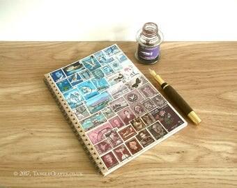 Blue Purple Landscape Planner - A5 Spiral Postage Stamp Art Journal