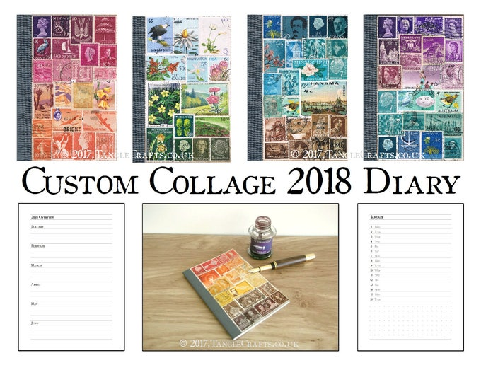 Featured listing image: Custom Colour 2018 Diary, A6 Month Planner Notebook, Stamp Collage Art