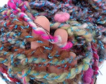 Hand spun art crazy  yarn. MODERN HERA II.